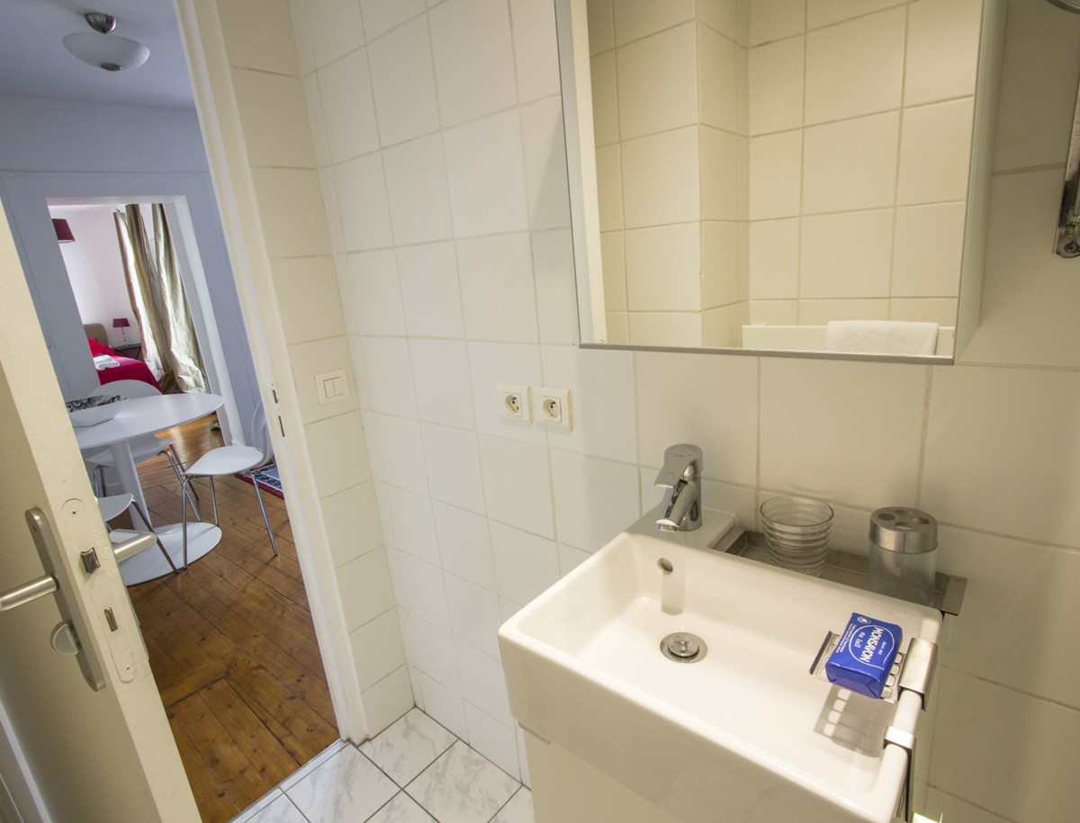 bathroom and view out of door